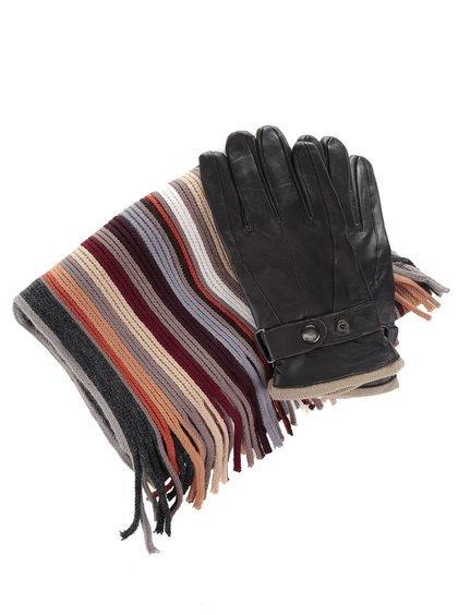 Set mănuși și fular maro Something Special în dungi