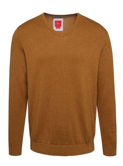 Hořčicový pánský svetr s véčkovým výstřihem s.Oliver