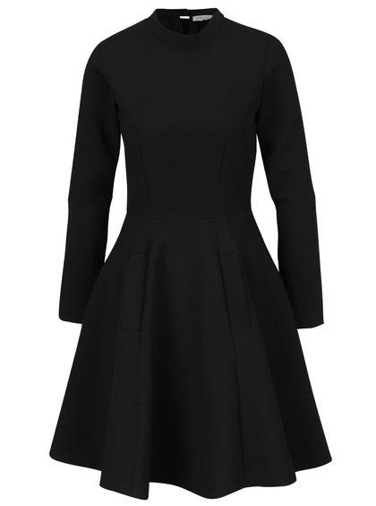 Černé šaty se stojáčkem a rošířenou sukní Closet