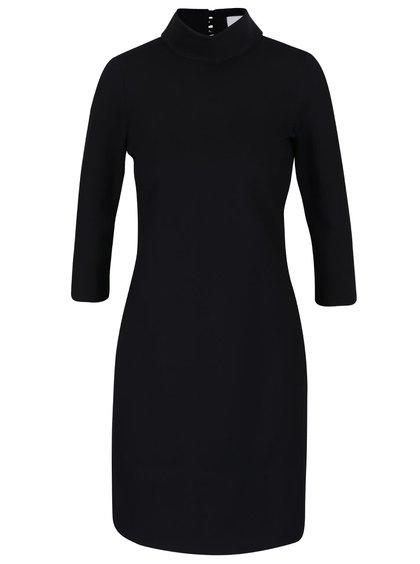 Černé šaty se stojáčkem a  3/4 rukávem Closet