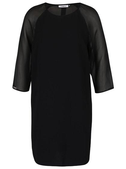 Černé volnější šaty s průsvitnými 3/4 rukávy ONLY Turner