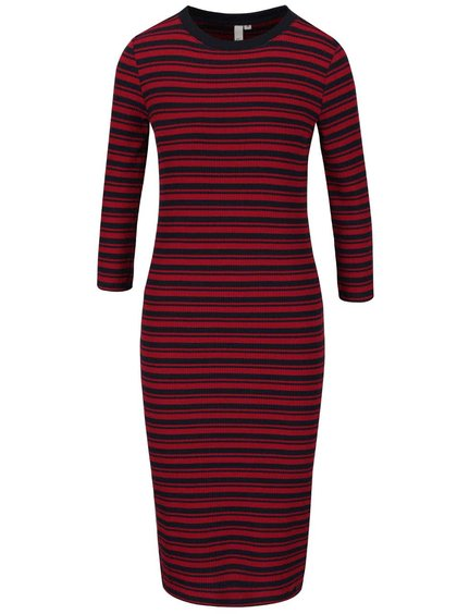 Modro-vínové rebrované pruhované šaty s 3/4 rukávmi s.Oliver