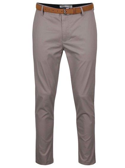 Šedé slim chino kalhoty s páskem Burton Menswear London