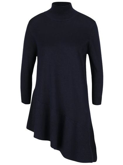 Tmavomodrý asymetrický sveter s 3/4 rukávom VILA Tin