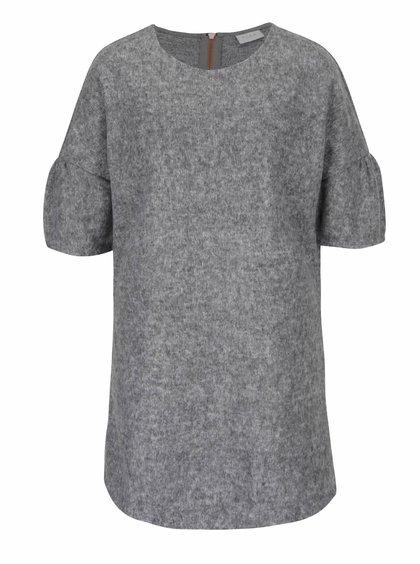 Šedý žíhaný dlouhý svetr s krátkým rukávem VILA Sheik