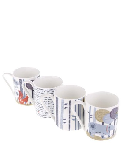 Set de 4 căni multicolore Folklore cu imprimeu din ceramică