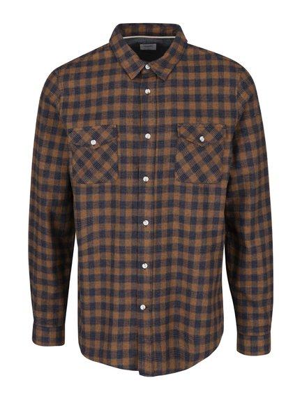 Hnedo-modrá kockovaná košeľa Burton Menswear London