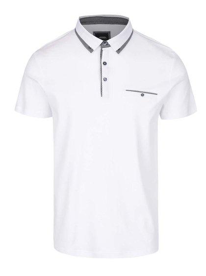 Bílé polo triko s kapsou Burton Menswear London