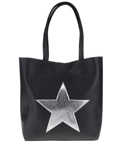Čierny shopper s hviezdou v striebornej farbe Haily´s Stellina