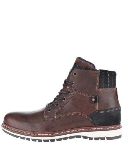 Tmavohnedé pánske kožené členkové topánky so zipsom Bullboxe