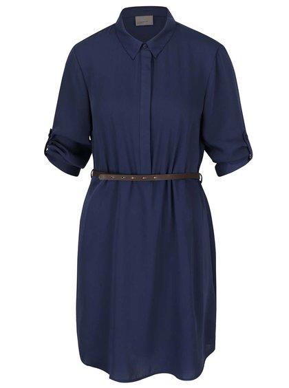 Tmavomodré košeľové šaty s opaskom Vero Moda Adele