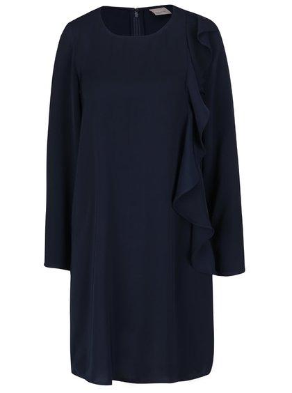 Tmavě modré volnější šaty s volánem VERO MODA Flora