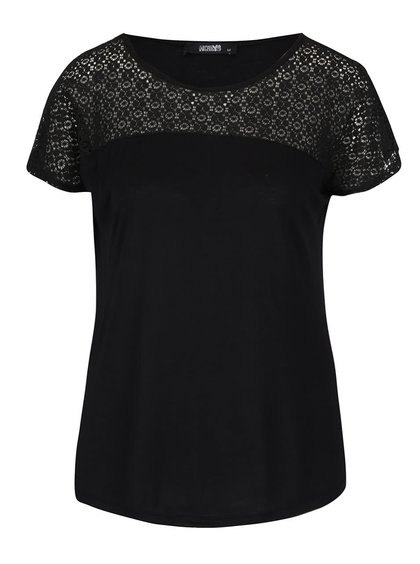 Černé tričko s krajkovaným sedlem Haily´s Livia
