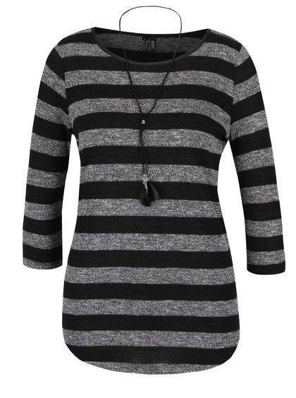 Šedo-černé pruhované tričko s 3/4 rukávem a přívěškem Haily´s Elle