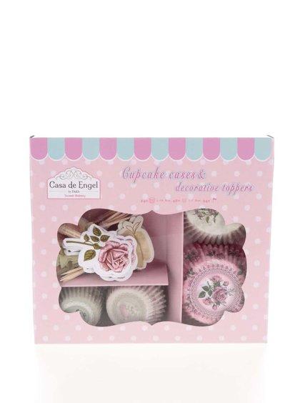Súprava papierových košíčkov na pečenie s motívom kvetín a vtáčikov Dakls