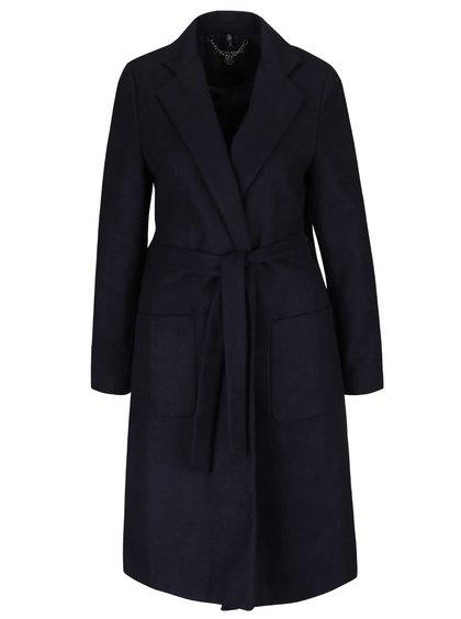 Tmavomodrý kabát s opaskom a vreckami Dorothy Perkins