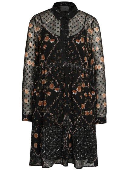 Černé volnější průsvitné šaty s knoflíky a spodničkou VERO MODA