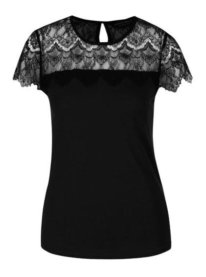 Čierne tričko s čipkou Dorothy Perkins