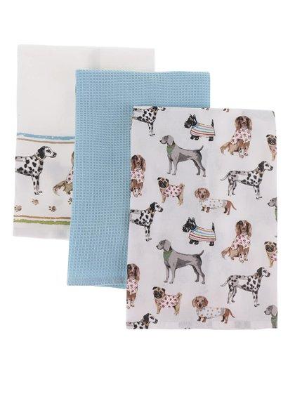 Sada tří modro-krémových utěrek s motivem psů Cooksmart