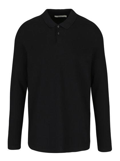 Černé polo triko s dlouhým rukávem Jack & Jones Bright