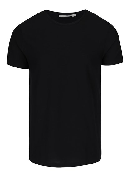 Čierne rebrované tričko Jack & Jones Wellington