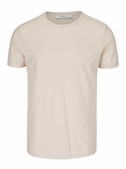 Béžové rebrované tričko Jack & Jones Wellington