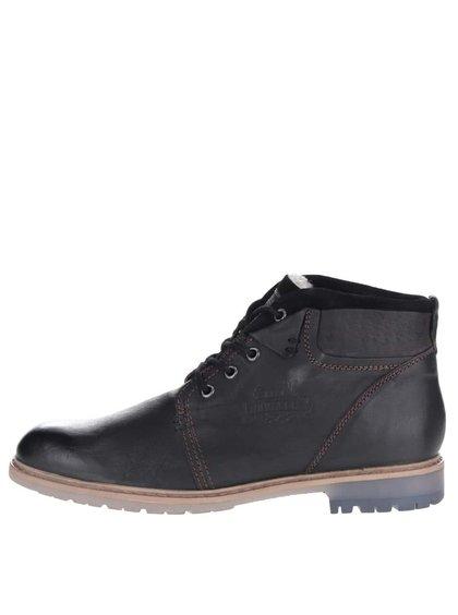 Čierne pánske kožené členkové topánky s umelou kožušinou bugatti