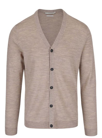 Cardigan maro deschis Jack & Jones Mark din lână