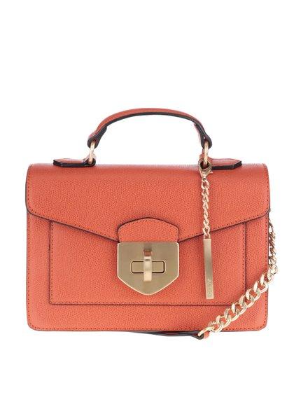 Oranžová menšia crossbody kabelka s detailmi v zlatej farbe ALDO Astirwen