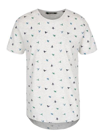 Šedé žíhané triko s drobným vzorem ONLY & SONS Adave