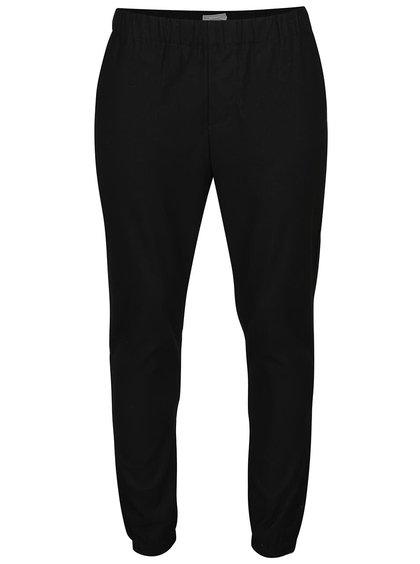 Pantaloni negri ONLY & SONS Cuffed cu talie elastică