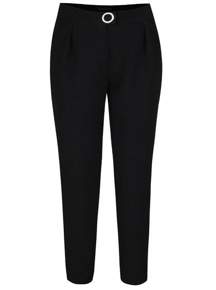 Čierne dámske rebrované nohavice so zvýšeným pásom Pietro filipi