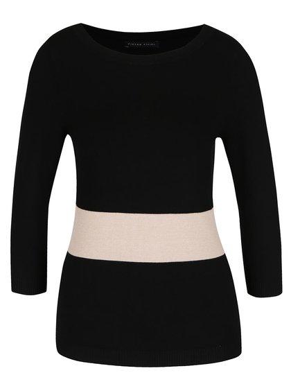 Černý dámský svetr s pruhem a 3/4 rukávy Pietro Filipi