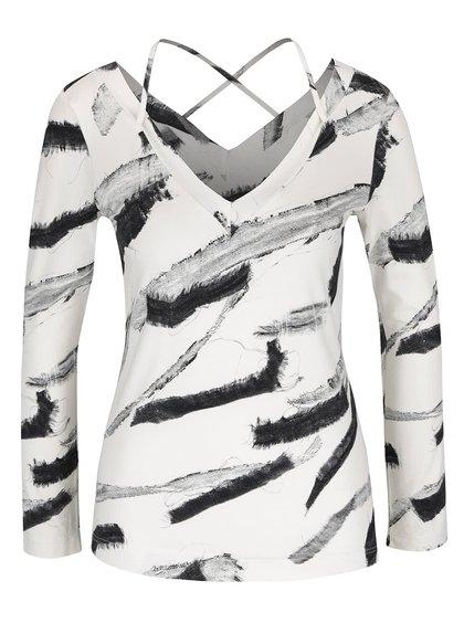 Bluză crem cu imprimeu negru abstract Pietro Filipi
