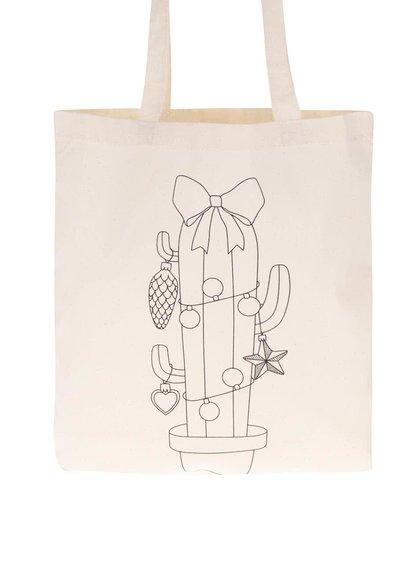 Krémová plátěná taška s potiskem ZOOT Originál Vánoční kaktus