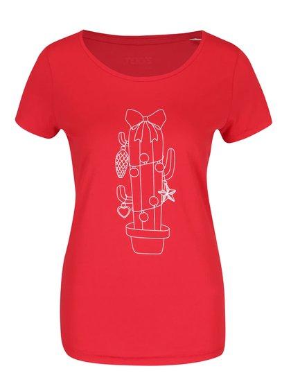 Čierne dámske tričko s potlačou ZOOT Originál Vianočný kaktus