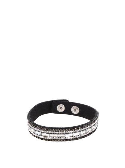 Černý náramek s kamínky ve stříbrné barvě Haily´s Laila