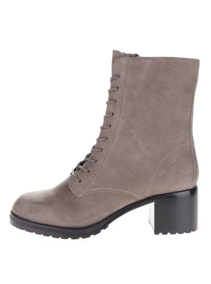 Hnědošedé dámské semišové kotníkové boty na podpatku ALDO Crowl