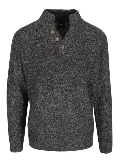Tmavě šedý žíhaný svetr s knoflíky Burton Menswear London