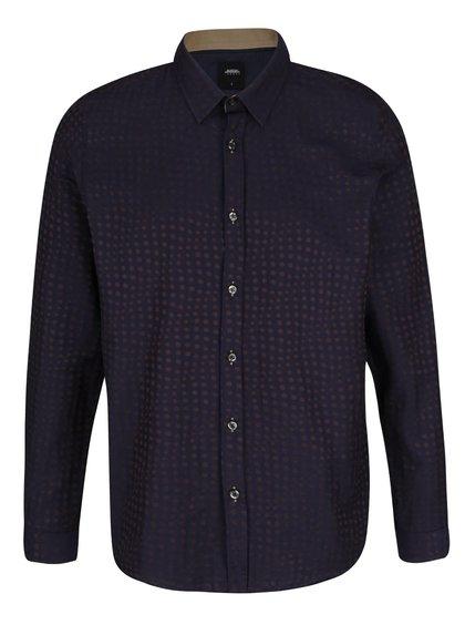 Tmavě modrá košile s hnědými puntíky Burton Menswear London