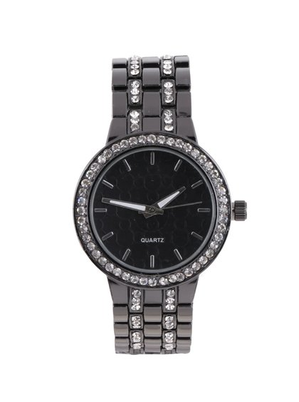 Černé hodinky s kamínky a ozdobným páskem Haily´s Penny Mixy
