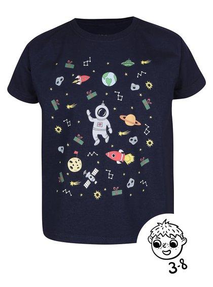 Tmavě modré klučičí triko s potiskem ZOOT Kids Vo vesmíre