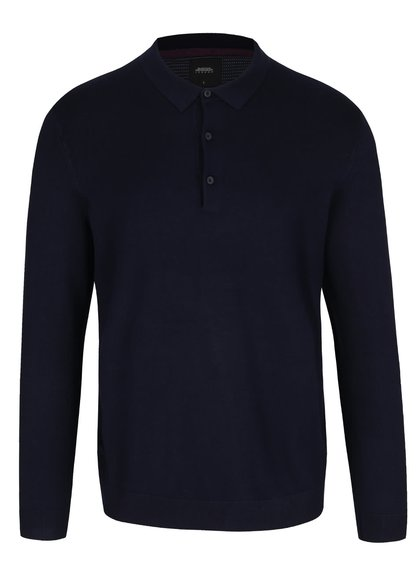 Tmavě modrý svetr s límečkem Burton Menswear London