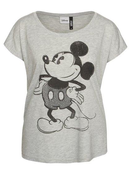 Světle šedé tričko s motivem Mickey Mouse a aplikací Haily´s Mick