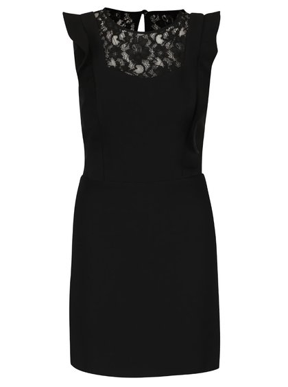 Čierne šaty s čipkou v dekolte Miss Selfridge