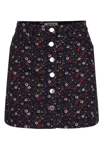 Hnědo-modrá květovaná propínací sukně Miss Selfridge