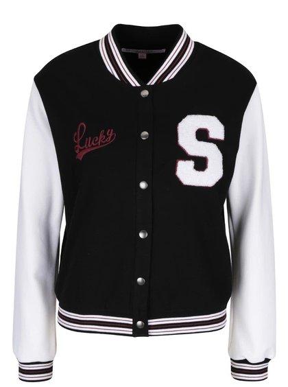Jachetă bomber alb cu negru Miss Selfridge