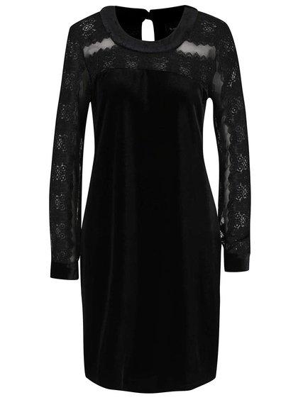 Čierne šaty s čipkovanými rukávmi Hanida b.young