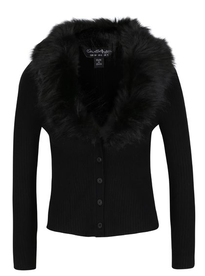 Černý propínací svetr s umělým kožíškem Miss Selfridge