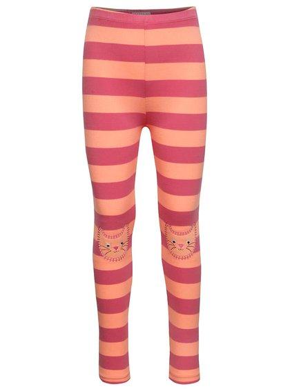Oranžovo-ružové pruhované dievčenské legíny so záplatami na kolenách 5.10.15.